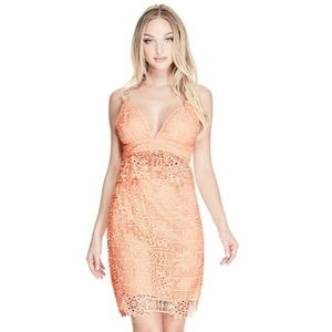 NWT GUESS Solstice Lace Dress in Tropical Peach